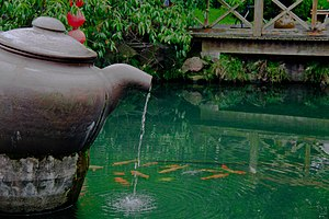 English: A pond in a tea village near the West...