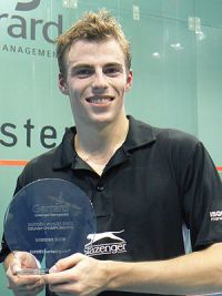 Nick Matthew holding his 2006 British Grand Pr...