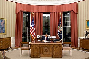 President Barack Obama edits his remarks in th...