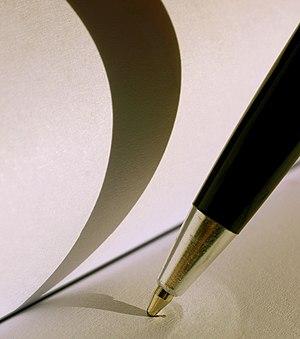 A ballpoint pen's tip.