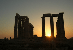 English: Sunset at temple of Poseidon at Souni...