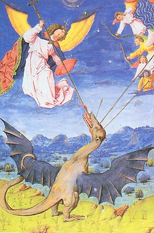 Saint Michael and the angels fighting the Wyvern.