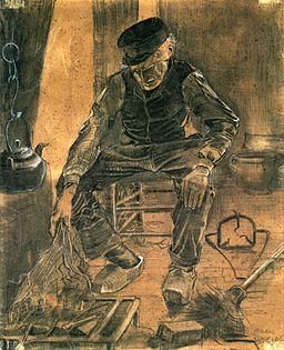 An Old Man Putting Dry Rice on the Hearth 1881 Vincent van Gogh