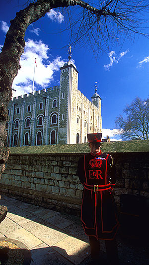 "Yeoman Warder (""beefeater"") in front..."
