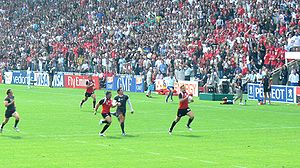 Canada take on Wales during the 2007 World Cup.