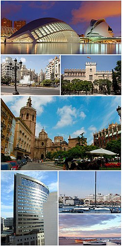 Valencia   Wikipedia Clockwise from top  City of Arts and Sciences  modernist buildings in Town  Hall Square