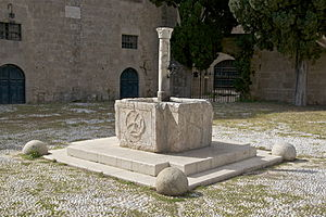 English: A drinking fountain in Rhodes, island...