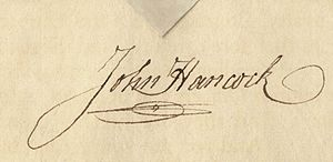 English: The signature of John Hancock on an e...