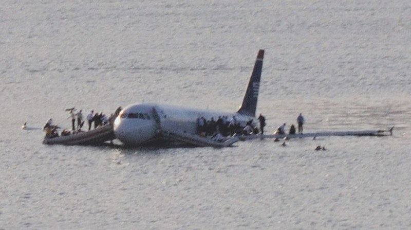 US Airways Flight 1549 afloat in the Hudson