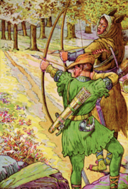 Robin Hood shooting with Sir Guy, painting by Louis Rheed