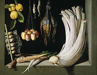 Bodegón: Bodegón de caza, hortalizas y frutas (1602), de Juan Sánchez Cotán, Museo del Prado, Madrid.