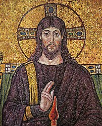 A 6th century mosaic of :en:Jesus at Church Sa...