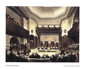 English: A drawing of the Court of Common Plea...
