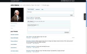 English: Screenshot of alpha version of Diaspo...