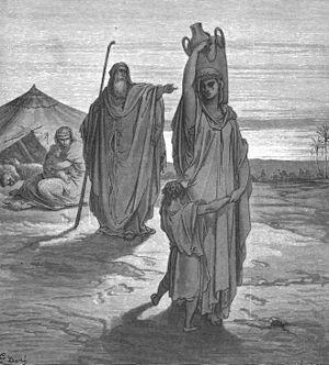 Abraham exiles Hagar.
