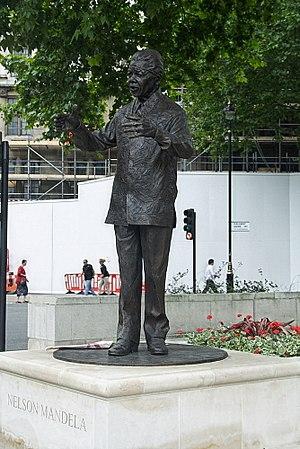 The statue of Nelson Mandela in Parliament Squ...