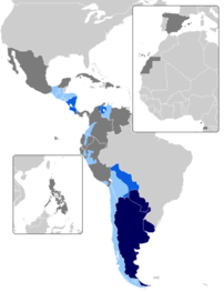 Map of countries with voseo. In blue, countries with voseo predominance. In green, countries where it is featured as a regionalism or non-mainstream custom.