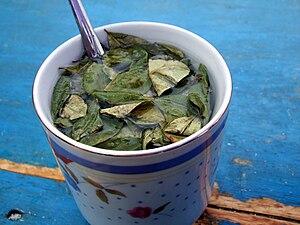English: A cup of mate de coca served in Villa...