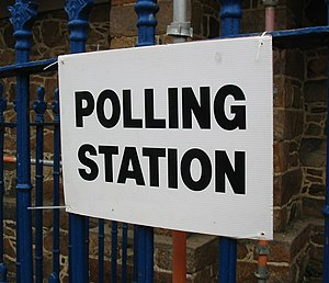 A polling station sign in the Jersey general e...