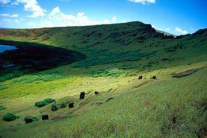 Caldera of Ranu Raraku volcano, Easter Island