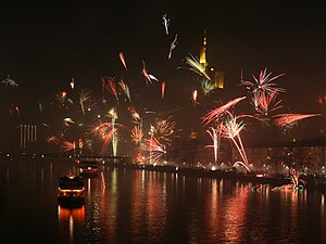 New Year fireworks in Frankfurt am Main, Germany