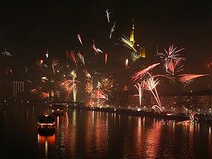 New Year fireworks in Frankfurt am Main, Germany
