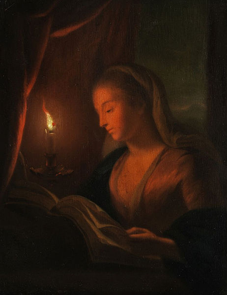 File:Young woman reading (in the style of Petrus van Schendel).jpg