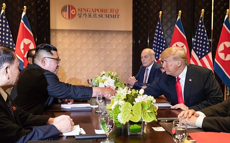File:2018 North Korea-United States summit - Kim and Trump shake hands.jpg