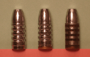 English: Cast bullets: as cast (on left), with...