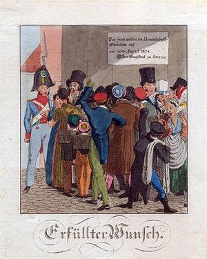 Kolorierte Federzeichnung von C.G.H. Geißler zur Aufhebung des Torgroschens in Leipzig 1824