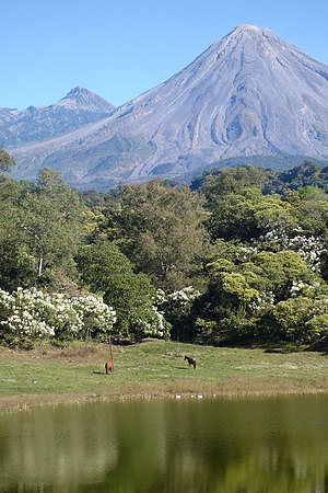 English: Colima Volcanoes seen from Carrizalil...
