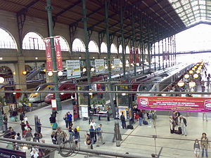 Eurostar, Thalys and TGV trains fill the platf...