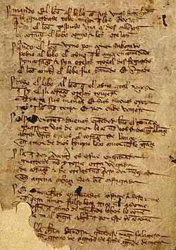 Folio 3r.º del manuscrito T (Toledo) del Libro de buen amor del siglo XIV conservado en la Biblioteca Nacional de España