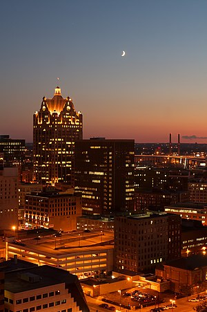 A view of downtown Milwaukee, Wisconsin by night