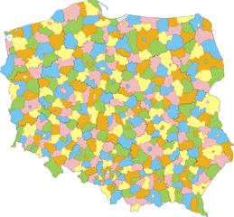Mapa administracyjna Polski z zaznaczonymi powiatami i granicami województw, stan na 1 stycznia 2007. Autor: Aotearoa