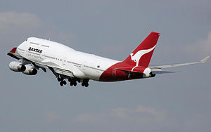 A Qantas Boeing 747 with the kangaroo livery o...