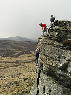 Rock Climbers on High Neb, Stanage Edge