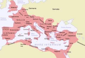El Imperio Romano en su máxima extensión, durante el reinado de Trajano (circa 117)
