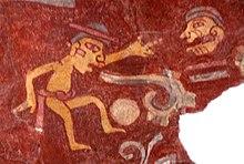 Sebuah lukisan dinding di Teotihuacan, Mexico (sekitar 200 AD) menggambarkan seseorang mengeluarkan gulungan lisan dari mulutnya, menyimbolkan berbicara.