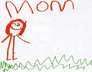 child art, intentional portrait of mother