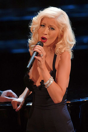 Christina Aguilera performing during the Sanre...
