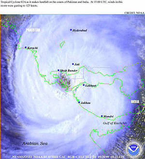 Monster cyclone 2A with large eye making landf...