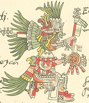 Huitzilopochtli, the patron god of the Mexica,...
