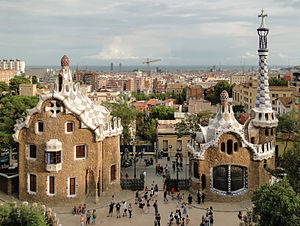 English: Houses in Park Güell designed by Anto...