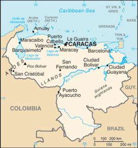 Kart over Den bolivariske republikken Venezuela