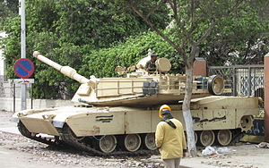 English: An Egyptian army M1 Abrams tank place...