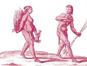 English: A Kali'na hunter with a woman gathere...