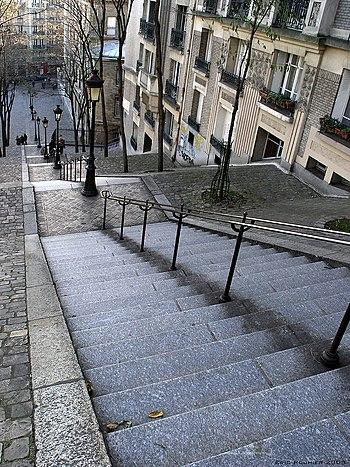 Montmartre's famous stairs, Paris, France