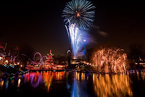 English: Fireworks in the Tivoli Gardens in Co...