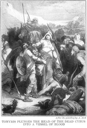 Queen Tomyris plunges the head of the dead Cyr...